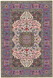 314 -Dk Blue--Green Geometric Turkish Woven Rug for Miniatures