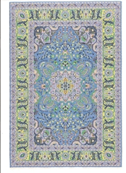 316 -Blue-Gray- Geometric Turkish Woven Rug for Miniatures