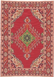 326 -Red--Green Geometric Turkish Woven Rug for Miniatures