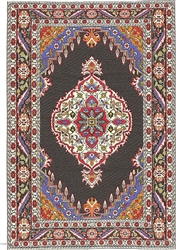327 -Red--black Geometric Turkish Woven Rug for Miniatures