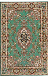 345 -Green Floral Turkish Woven Rug for Miniatures