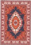 357 -Orange--Navy Geometric Turkish Woven Rug for Miniatures