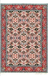 360 -Orange Red--Teal Floral Turkish Woven Rug for Miniatures