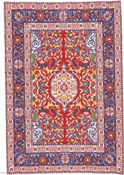 367 -Dark Red--Navy Geometric Turkish Woven Rug for Miniatures