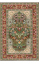 374 -Olive Green-Red Floral Turkish Woven Rug for Miniatures
