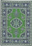 375 -Green--Blue  Geometric Turkish Woven Rug for Miniatures