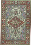 383 -Burgundy--Teal Geometric Turkish Woven Rug for Miniatures