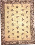 Antique Chinese Tan Felt Printed Rug - Miniature 7x9-inches