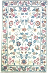 Ivory Tufted Floral Felt Printed Rug - Miniature 6x9-inches