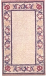 Beige Floral Border Felt Printed Rug Tapestry - Miniature 4x7 -inches