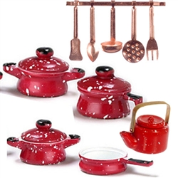 11242R Kitchen spatter red cooking set