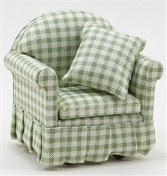 Classic Arm Chair in Green and White Check