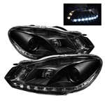 Spyder Auto Volkswagen Golf 2010-1012 DRL LED Projector Headlights (Halogen Model Only) 5012111