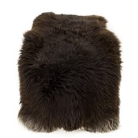 Sheepskin Rug Wide Dark Brown w Gray Highlights