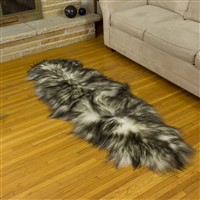 Icelandic Sheepskin Rug White w Dyed Black Tips Double End-End