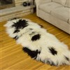 Icelandic Sheepskin Rug Dark Ivory Large Wide Spotted double end-end