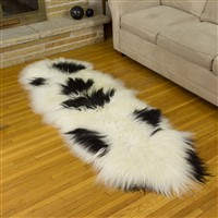 Icelandic Sheepskin Rug Ivory White with Black Spots double end-end
