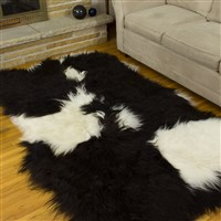Icelandic Sheepskin Rug Black and White Spotted Quad Rug