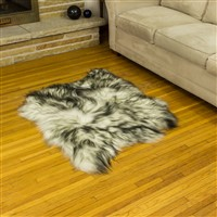 Sheepskin Rug White w Dyed Black Tips Double Side-Side