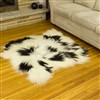 Sheepskin Rug Ivory White w Black Mix Double Side-Side