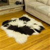 Sheepskin Rug Ivory White w Dark Spots Double Side-Side