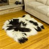Sheepskin Rug Ivory White w Black Spots Double Side-Side