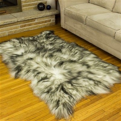 Sheepskin Rug White w Black Dyed Tips Quad Rug