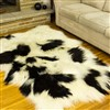 Sheepskin Rug Long Wool White w Black Spotted Quad Rug