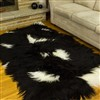 Sheepskin Rug Long Wool Black w White Spots Quad Rug