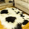 Sheepskin Rug Long Wool Rich Ivory w Black Spotted Quad Rug