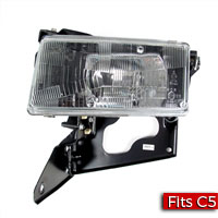 Driver Side (LH) Headlamp Assembly with Actuator Motor - Europe RH Rule of Road T84 GM Part nos. 10351407, 10320757 - SMC Performance and Auto Parts