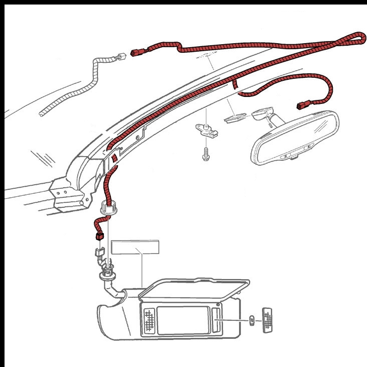 Dome Lamp, Inside Rear View Mirror and Sunshade Vanity Mirrors Wiring  Harness Factory Part No. 12189953 - SMC Performance and Auto Parts   Chevrolet Rear View Mirror Wiring Diagram      SMC Performance and Auto Parts