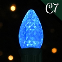 LED C7 Bulb -  Blue Transparent - Faceted  (Qty 250)