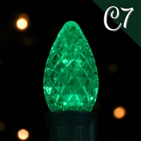 LED C7 Green Transparent - Faceted (250 qty)