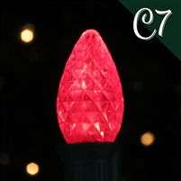 LED C7 Red Transparent - Faceted (250 qty)