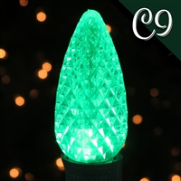 LED C9 Green Transparent - Faceted (250 qty)