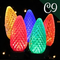 LED C9 Multi Transparent - Faceted (R/G/B/A/GD) (250 qty)