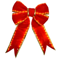 "Lighted Red Bow w/Gold Trim 24"" (Qty 2)"