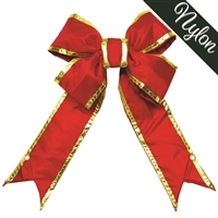 "Nylon Red Bow w/Gold Trim 18"" (Qty 4)"