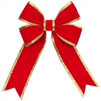 "Red Bow w/Gold Trim 12"" (Qty 8)"