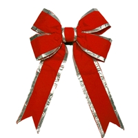 "Red Bow w/Silver Trim 12"" (Qty 8)"