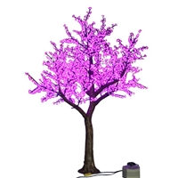 8.5' Brown Bark Cherry Blossom Tree - LED Pink