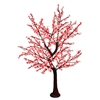 8.5' Brown Bark Cherry Blossom Tree - LED Pure White / Red