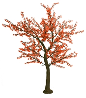 8.5' Brown Bark Cherry Blossom Tree - LED Red