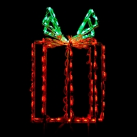"LED 24"" 3D GiftBox Red/Green"