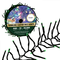 448L Twinkling Cluster Rice Light Set w/controller-GREEN (Qty 12)