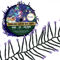 448L Twinkling Cluster Rice Light Set w/controller-PURPLE (Qty 12)