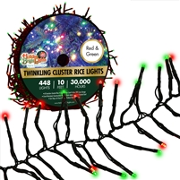 448L Twinkling Cluster Rice Light Set w/controller-RED/GREEN (Qty 12)