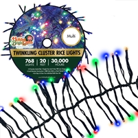 768L Twinkling Cluster Rice Light Set w/controller-MULTI (Qty 8)
