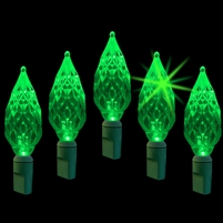 "LED Diamond Cut 6"" Spacing - Green Twinkle (Qty 12)"